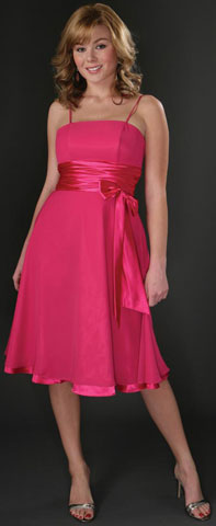 Spaghetti Ribbon Bow Formal Party Dress