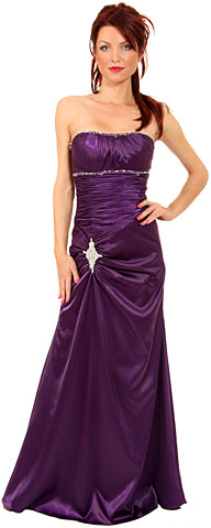 Ruched Bejeweled Fitted Formal Evening Dress. p8046.