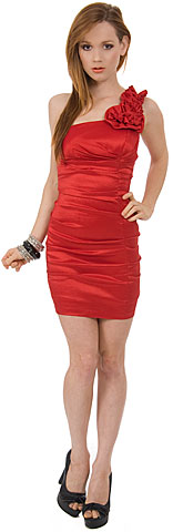 Single Shoulder Form FittingRuched Party Dress. p8052.