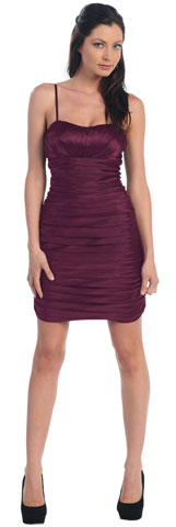 Spaghetti Straps Pleated Short Party Dress. p8068.
