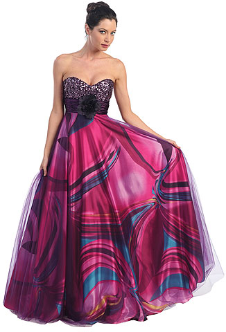 Multi Colored Flared Formal Prom Gown