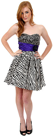 Strapless Sequined Zebra Print Short Cocktail Dress. p8103.
