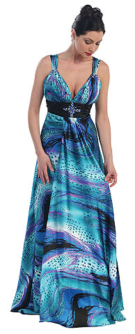 Empire Style Multi Color Full Length Formal Dress. p8140.