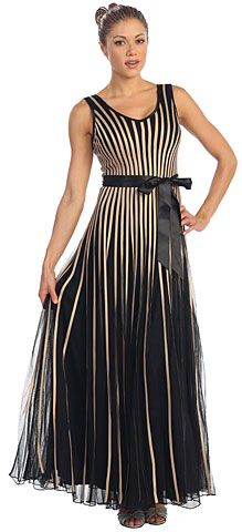 V-Neck Sleeveless Mesh Long Formal MOB Dress with Satin Bow. p8158l.