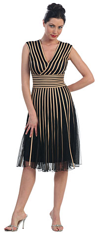 Mesh Tea Length Formal Dress with Striped Detail. p8159.