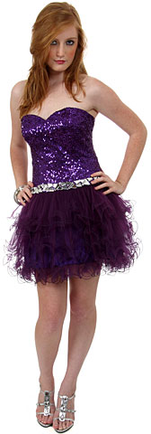 Strapless Sequined Short Prom Dress. p8285s.