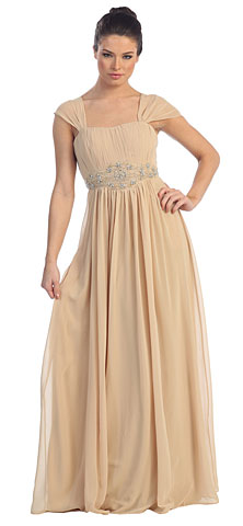 Empire Waist Formal Dress with Bead Accent. p8294.