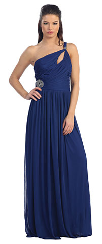 Single Shoulder Shirred Brooch Prom Dress. p8323.