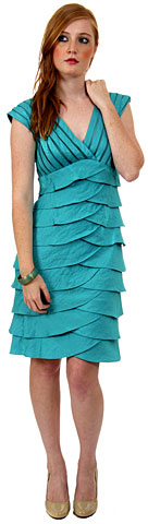 Aqua Inspired Cocktail Dress with Cascading Ruffles. p8334.