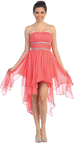 Elegant High-Low Prom Dress with Asymmetrical Hem. p8335.