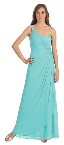 One Shoulder Draped Prom Dress with Bejeweled Strap. p8349.