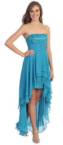 Elegant High-Low Prom Dress with Asymmetrical Hem. p8402.