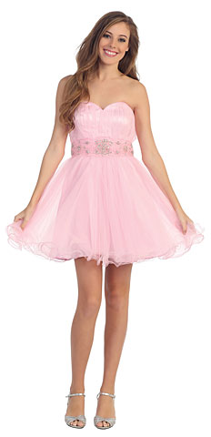Strapless Mesh Short Prom Dress with Beaded Waist. p8420.
