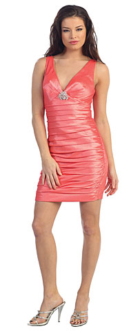 Deep V-Neck Short Pleated Party Dress. p8434.