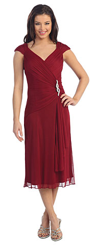 V-neck Broad Straps Medium Length Bridesmaid Dress. p8488.