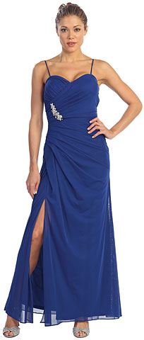Spaghetti Straps Gathered Long Formal Evening Dress. p8508.
