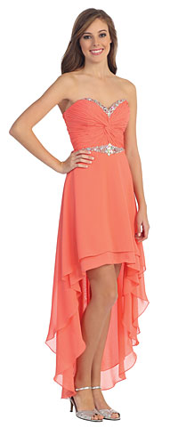 Strapless High Low Formal Cocktail Dress with Twist at Bust. p8535.