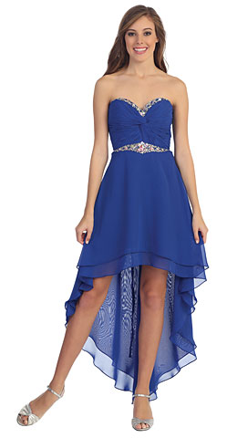 Strapless High Low Formal Party Dress with Twist at Bust. p8535.