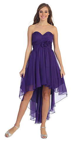 Strapless Floral Accent High Low Bridesmaid Dress . p8570.