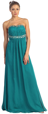 Strapless Floor length Empire Cut Formal Dress. p8587.