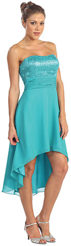 Strapless High Low Formal Cocktail Cocktail Dress with Pleating. p8596.