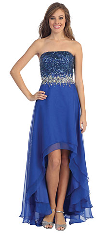 Strapless Hi-Low Formal Prom Dress with Sequin Bodice. p8608.