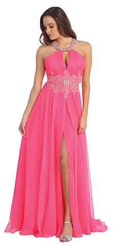 Halter Neck Rhinestone Waist Long Formal Dress. p8609.