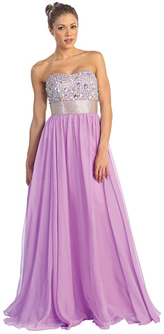 Bejeweled Bust Floor Length Formal Evening Prom Dress. p8620.