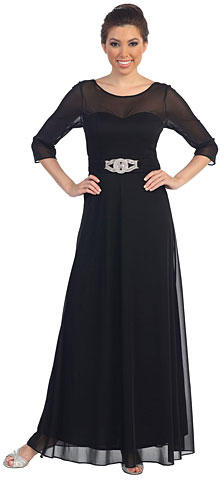 Sheer Neck Bejeweled Waist Long Formal MOB Dress. p8630.
