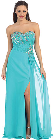 Strapless Rhinestones Bust Long Formal Dress. p8642.