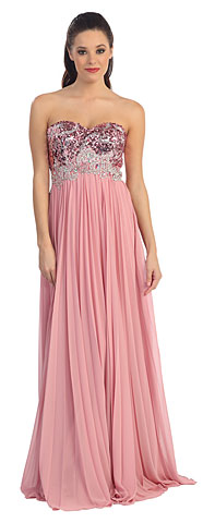 Strapless Sequins Bust Floor Length Formal Dress. p8643.