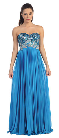 Strapless Sequins Bust Floor Length Pageant Dress. p8643.