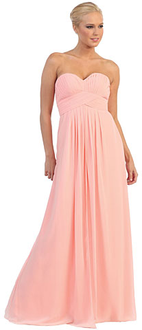 Strapless Empire Cut Pleated Long Bridesmaid Prom Dress. p8658.