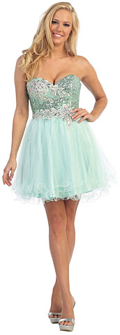 Strapless Floral Sequins Bust Tulle Short Party Party Dress. p8687.