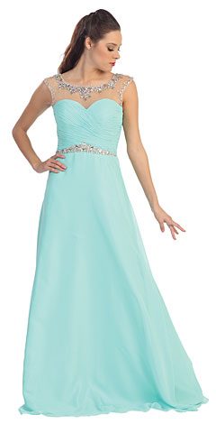 Sheer Neck Long Formal Evening Formal Dress with Rhinestones. p8688.