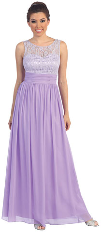 Round Neck Lace Bodice Long Formal Formal Dress. p8769.