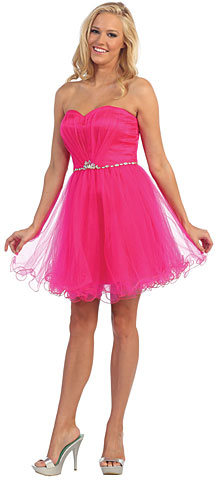 Strapless Bejeweled Waist Short Tulle Graduation Party Dress. p8781.