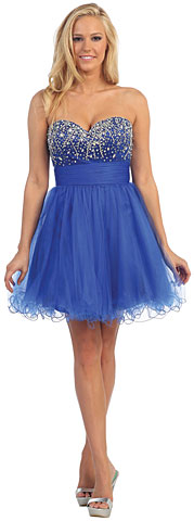 Strapless Beaded Bodice Short Tulle Party Prom Dress. p8808.