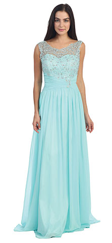 Round Neck Lace Beaded Bodice Long Formal Dress. p8816.