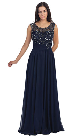 Round Neck Lace Beaded Bodice Long Prom Dress. p8816.