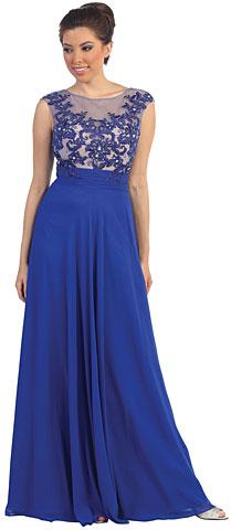 Mesh Floral Bust Keyhole Back Long Formal Prom Dress. p8822.