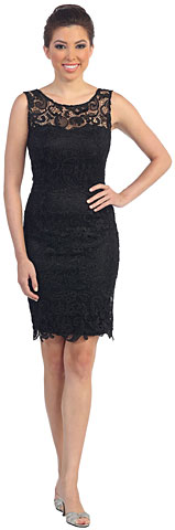 Sheer Neck Artistic Pattern Lace Short Formal Party Dress. p8842.
