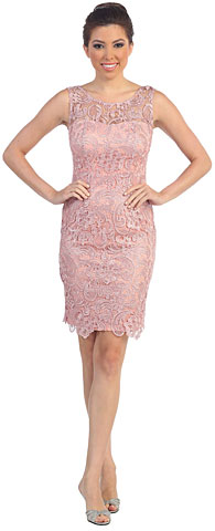 Sheer Neck Artistic Pattern Lace Short Formal Cocktail Dress. p8842.