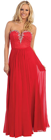Strapless Long Formal Dress with Lace & Rhinestones. p8844.