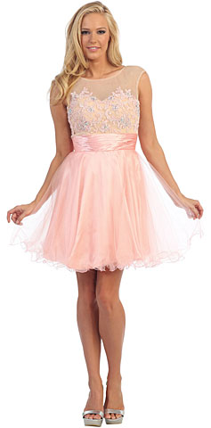 Floral Pattern Bodice Short Tulle Party Prom Dress. p8845.