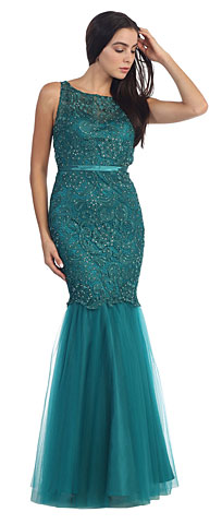 Lace Bodice Mermaid Mesh Skirt Long Prom Dress. p8851.