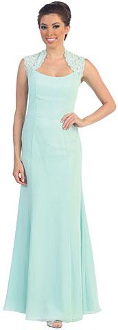 High Neck Lace Shoulders Long Formal Bridesmaid Dress. p8870.