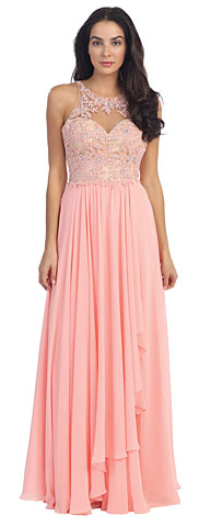 Mesh with Floral Lace Bodice Long Formal Dress. p8871.