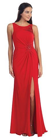 Sleeveless Beaded Front Slit Long Formal Dress. p8879.