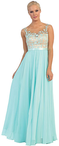 Floral Embroidered Mesh Bodice Long Formal Prom Dress. p8882.
